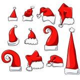 Geplaatste de Hoeden van Kerstmis stock illustratie