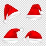 Geplaatste de hoeden van de Kerstmiskerstman Nieuwjaar Red Hat op Transparante Achtergrond wordt geïsoleerd die Vector illustrati vector illustratie