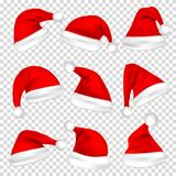 Geplaatste de hoeden van de Kerstmiskerstman Nieuwjaar Red Hat op Transparante Achtergrond wordt geïsoleerd die Vector illustrati royalty-vrije illustratie