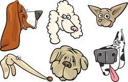 Geplaatste de hondenhoofden van het beeldverhaal Stock Afbeeldingen