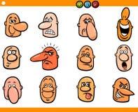 Geplaatste de hoofden van beeldverhaalmensen emoticons Royalty-vrije Stock Afbeelding