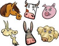 Geplaatste de hoofden van het landbouwbedrijfdieren van het beeldverhaal Stock Afbeeldingen