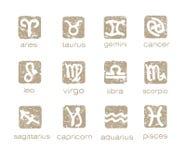 Geplaatste de horoscooptekens van de dierenriem royalty-vrije illustratie