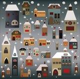 Geplaatste de huizen van Kerstmis Royalty-vrije Stock Fotografie
