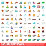 100 geplaatste de industriepictogrammen, beeldverhaalstijl Stock Foto