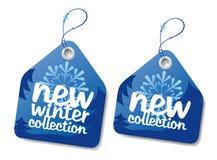 Geplaatste de inzamelings blauwe etiketten van de winter. Stock Foto's
