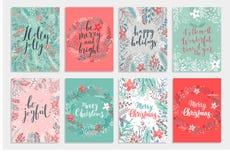 Geplaatste de kaart van Kerstmiscallygraphic - getrokken hand bloemen royalty-vrije illustratie