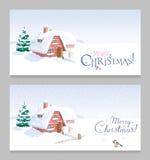 Geplaatste de kaarten van de Kerstmisgroet van het de winterlandschap Royalty-vrije Stock Foto's