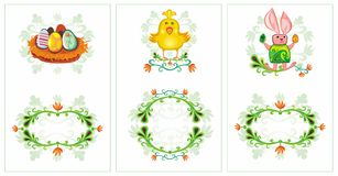 Geplaatste de kaarten van de lentevogels van Pasen Stock Afbeeldingen
