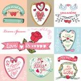 Geplaatste de kaarten van de valentijnskaartendag Stock Foto's