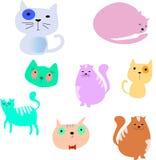Geplaatste de katten van het beeldverhaal Eenvoudige moderne vlakke stijlvector Royalty-vrije Stock Foto