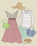 Geplaatste de kleren van de vrouw Stock Afbeelding