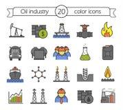 Geplaatste de kleurenpictogrammen van de olieindustrie Royalty-vrije Stock Foto's