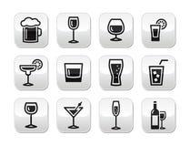 Geplaatste de knopen van de de alcoholdrank van de drank stock illustratie