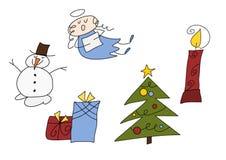 Geplaatste de krabbels van Kerstmis Royalty-vrije Stock Fotografie