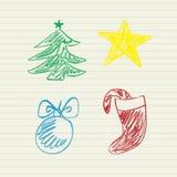 Geplaatste de krabbels van Kerstmis Stock Fotografie