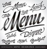 Geplaatste de krantekoppen van het menu (vector) Stock Afbeeldingen