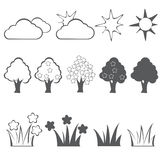 Geplaatste de lente Zwarte Pictogrammen Vector Royalty-vrije Stock Afbeeldingen