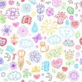 Geplaatste de lentekrabbels De hand trekt bloemen, zon, wolken, vlinders royalty-vrije illustratie