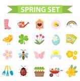 Geplaatste de lentepictogrammen, vlakke stijl Het tuinieren leuke die inzameling van ontwerpelementen, op witte achtergrond wordt Royalty-vrije Stock Foto's