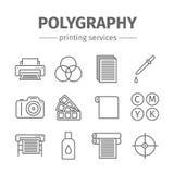 Geplaatste de lijnpictogrammen van drukpolygraphy Royalty-vrije Stock Afbeelding