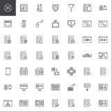 Geplaatste de lijnpictogrammen van het databasesysteem stock illustratie