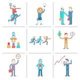 Geplaatste de lijnpictogrammen van het zakenmankarakter Stock Afbeeldingen