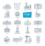 Geplaatste de lijnpictogrammen van de stadsstraat Stadslandschappen Gebouwen, vervoer, architectuur stock illustratie