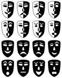 Geplaatste de Maskers van het theater Stock Foto