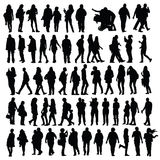 Geplaatste de mensen silhouetteren Stock Fotografie