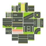 Geplaatste de modulepictogrammen van de wegaannemer, beeldverhaalstijl vector illustratie