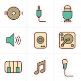 Geplaatste de Muziekpictogrammen van de pictogrammenstijl Stock Afbeeldingen