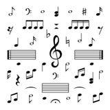 Geplaatste de nota's van de muziek Van het silhouettekens van de muzieknootg-sleutel geïsoleerde de melodiesymbolen vector royalty-vrije illustratie