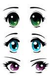 Geplaatste de ogen van Manga Royalty-vrije Stock Foto's