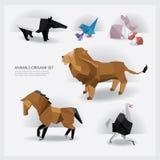 Geplaatste de Origami van het dierenwild Stock Afbeeldingen