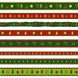 Geplaatste de patronen van het Kerstmislint Royalty-vrije Stock Foto's