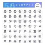 Geplaatste de pictogrammen van de aardrijkskundelijn Royalty-vrije Stock Foto