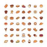 Geplaatste de pictogrammen van de bakkerij Stock Foto