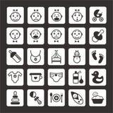 Geplaatste de pictogrammen van Beby Stock Illustratie