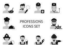 Geplaatste de pictogrammen van beroepen Stock Foto's