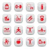 Geplaatste de pictogrammen van Bodybuilding en van de geschiktheid Royalty-vrije Stock Foto's