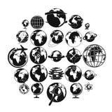 Geplaatste de pictogrammen van de bolaarde, eenvoudige stijl Stock Fotografie