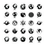 Geplaatste de pictogrammen van de bolaarde, eenvoudige stijl royalty-vrije illustratie