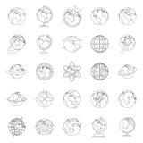 Geplaatste de pictogrammen van de bolaarde, schetsen stijl vector illustratie