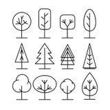 Geplaatste de pictogrammen van de boomlijn Eenvoudige dunne stijl vectorillustraties Stock Afbeeldingen