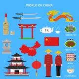 Geplaatste de pictogrammen van China vector illustratie