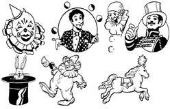 Geplaatste de pictogrammen van circusprestaties Royalty-vrije Stock Afbeelding