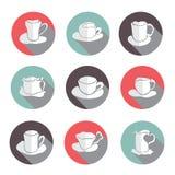 Geplaatste de pictogrammen van Coffekoppen Royalty-vrije Stock Fotografie