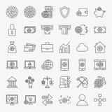 Geplaatste de Pictogrammen van de Cryptocurrencylijn Stock Afbeelding