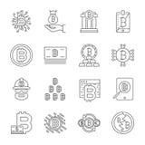 Geplaatste de Pictogrammen van de Cryptocurrencylijn Vectorinzameling van Dunne de Financi?nsymbolen van Overzichtsbitcoin Editab royalty-vrije illustratie